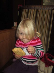 Costa Coffee with the Lu - and a custard cream almost as big as she is!