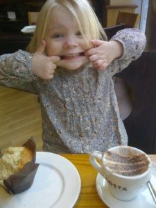 Gracie 'enjoying' her babycinno at Costa ;)